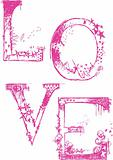 Texture Cute Love Typography Logo Poster