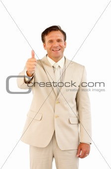 Thumps up showing male business person
