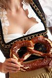 Close-up of Bavarian Girl with Oktoberfest Pretzel