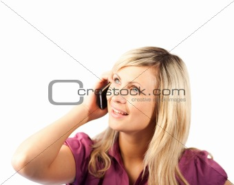 Blonde Business woman talking on phone