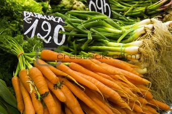 Carrots and Green Onions at Market
