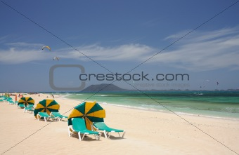Beach at Corralejo, Fuerteventura Island. Isla de Lobos in the background.