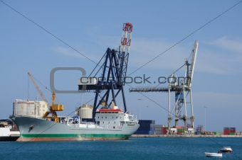 Cargo ship in the industrial port