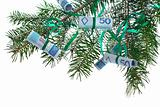 polish banknotes on christmas tree