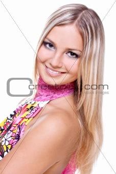 beautiful women in a colored dress