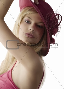 blond with red fedora