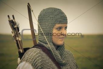 bows woman / medieval armor / retro split toned