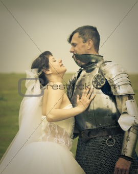 love meeting / Princess Bride and her knight / retro style toned
