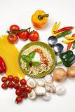 Spaghetti, tomato, cheese and basil