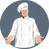 Chef cook with hands outstretch