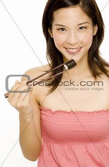 Pretty Girl Eating Japanese Food