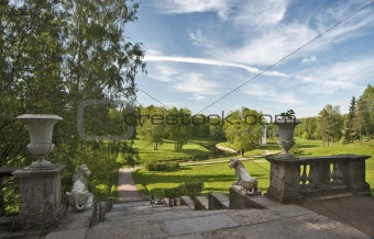 Beautiful park with classical balustrade and stairway
