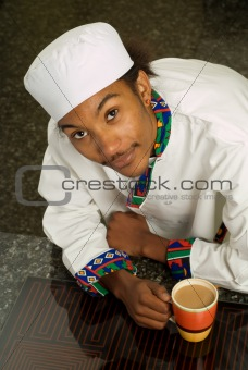 African American Chef Drinking Coffee