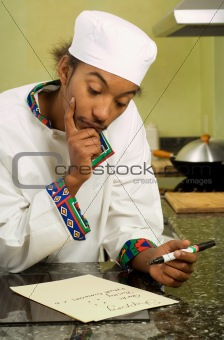 African American Chef Writing Shopping List