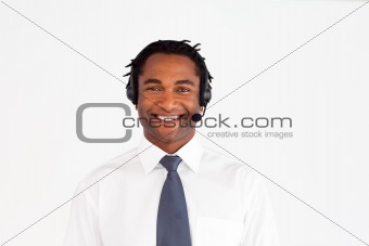 Smiling afro-american with headset on
