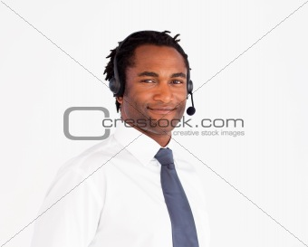Attractive afro-american working with headset