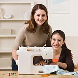 Mother and Daughter Sewing