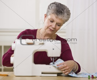 Senior Woman Sewing