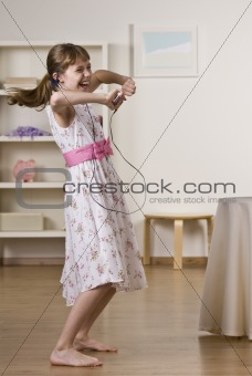 Little Girl Dancing to Music