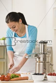 Woman Slicing Produce