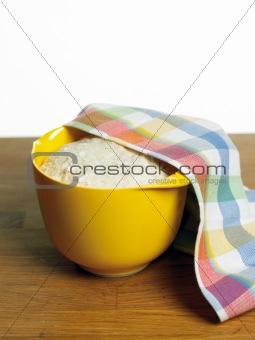 Bread dough rising in plastic bowl