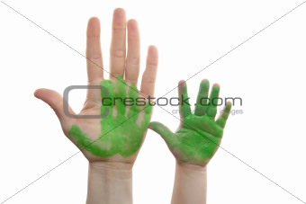 Green paint mother, son, daughter hand