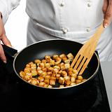 Chef preparing croutons