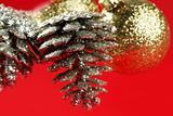Christmas decoration, Xtmas pine tree, red background