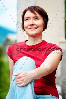 Positive woman outdoors