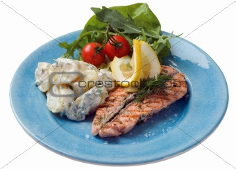 Grilled salmon and potato