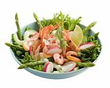 Shrimp salad isolated on white