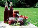 Homemade strawberry jam and squash