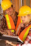 Two Construction Workers at the job, Female Constructin Worker