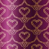 Gold-on-Purple seamless sari pattern with hearts