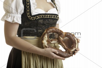 Bavarian Girl with Oktoberfest Pretzel