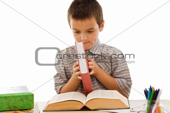 Happy schoolboy with books