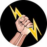 Vector illustration of lightning in the hand