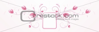 Abstract pink floral background with frame