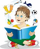 Vector illustration of a boy reading a book