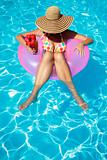 Women with Hat in Pool
