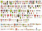 Alphabet newspaper uppercase, lowercase, numbers and symbols cutouts isolated on white. Mix and match to make your own words