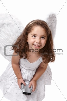 Smiling angel fairy with binoculars