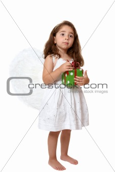 Angel child holding a present