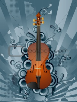 Abstract vector retro background with the violin.