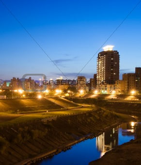 City night with orange light