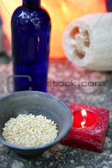 Aromatherapy, red candle, marine natural sponge