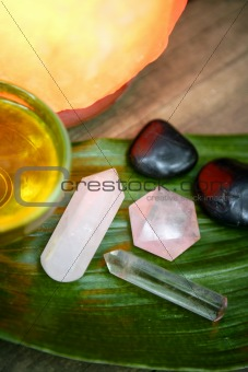 Aromatherapy, stones, oil, relaxing spa therapy