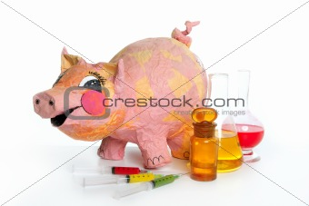 Beautiful little pink pig with medicine AH1N1
