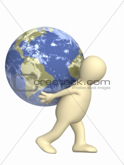 3d puppet, carrying the Earth