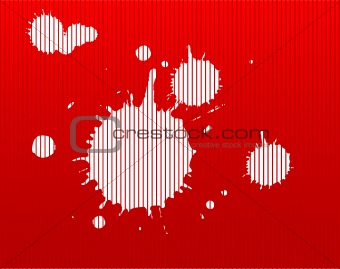 blot on red striped background